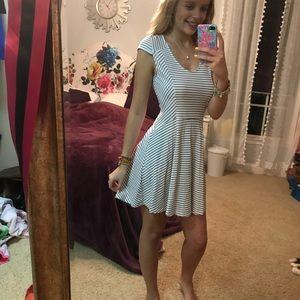 Dresses & Skirts - Black & White Stripe Keyhole Dress w/ Cap Sleeve